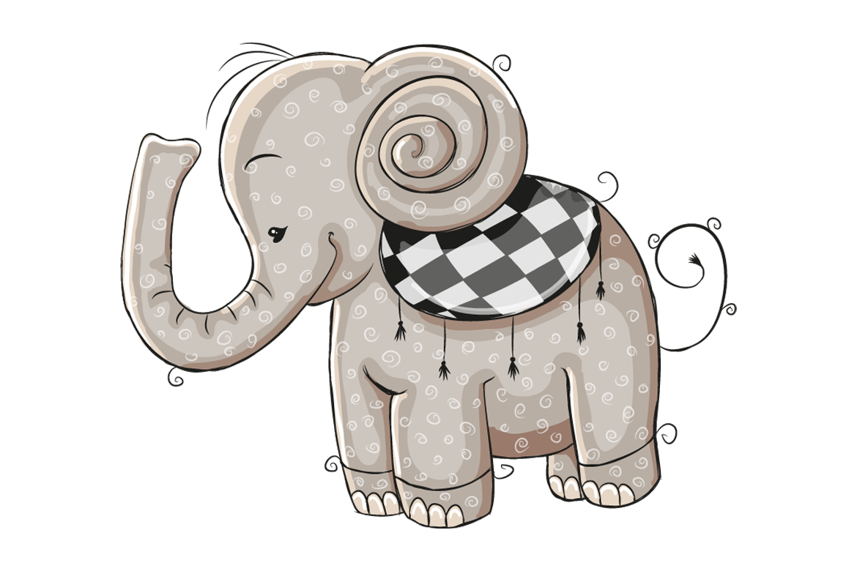 Veggdekor-Elefant